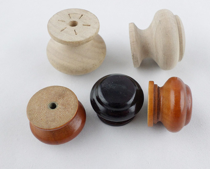Natural Round Unfinished Wooden Knobs For Drawers Wooden