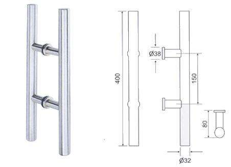 Stainless steel glass door Tube pull handle